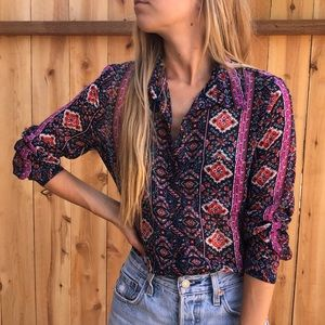 Boho Long Sleeve Button Down. Size Small.
